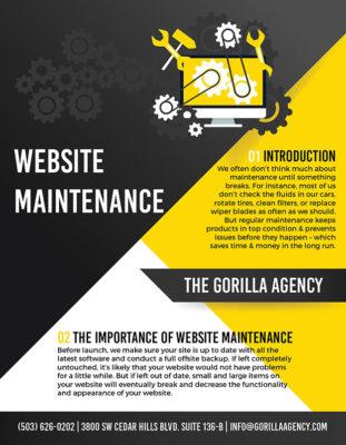 Website Maintenance Brochure | The Gorilla Agency