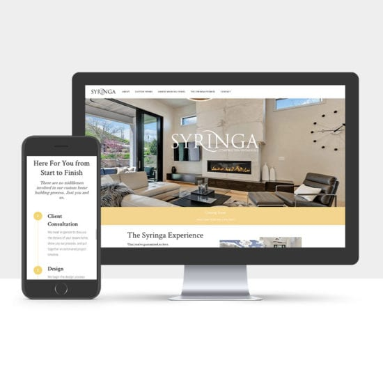 Portfolio: Responsive desktop and mobile display of Syringa's website