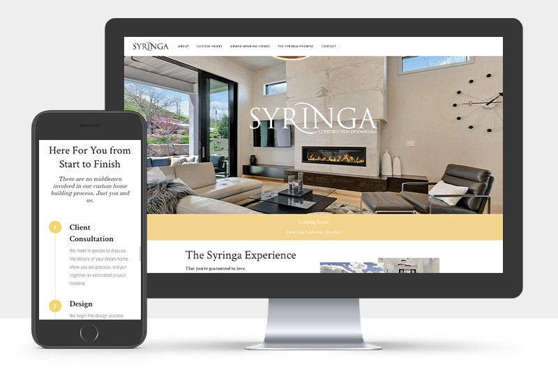 Portfolio: Responsive desktop and mobile display of Syringa's website
