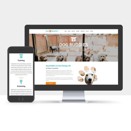 Portfolio: Responsive desktop and mobile display of Dog Buddies website