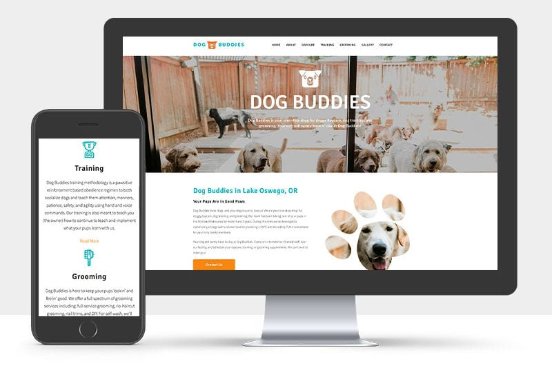 Portfolio: Responsive desktop and mobile display of Dog Buddies website