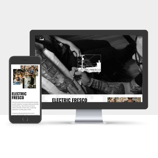 Portfolio: Responsive desktop and mobile display of Electric Fresco website