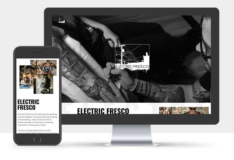 Portfolio: Responsive desktop and mobile display of Electric Fresco website