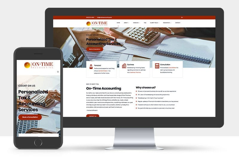 Portfolio: Responsive desktop and mobile display of On-Time Accounting website