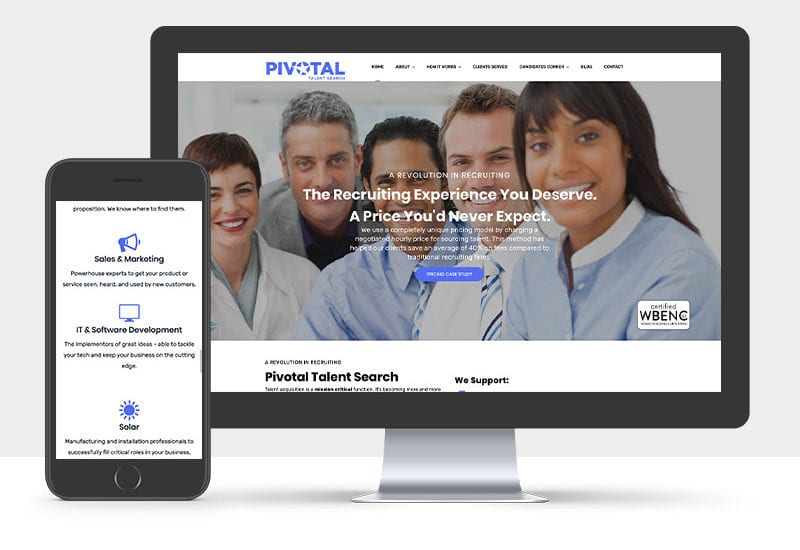 Portfolio: Responsive desktop and mobile display of Pivotal's website