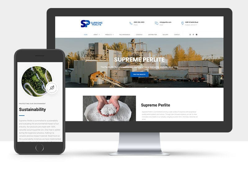 Portfolio: Responsive desktop and mobile display of Supreme Perlite's website
