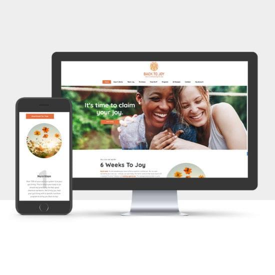 Portfolio: Responsive desktop and mobile display of Back To Joys Website