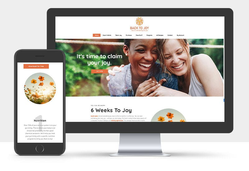 Portfolio: Responsive desktop and mobile display of Back To Joys Website