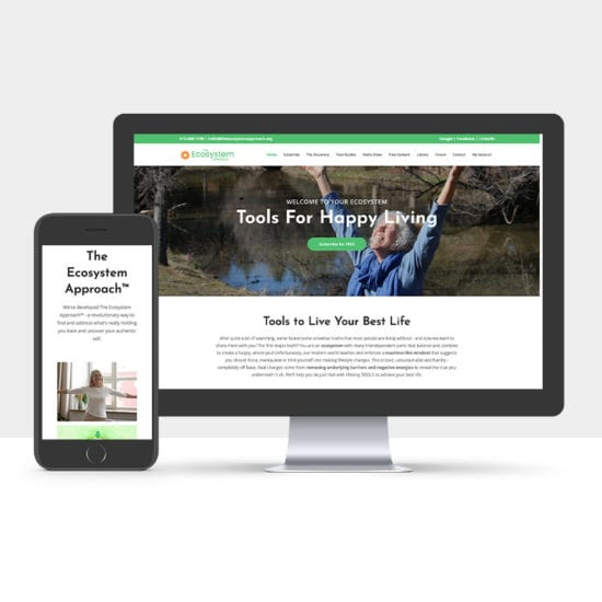 Portfolio: Responsive desktop and mobile display of The Ecosystem Approach's Website