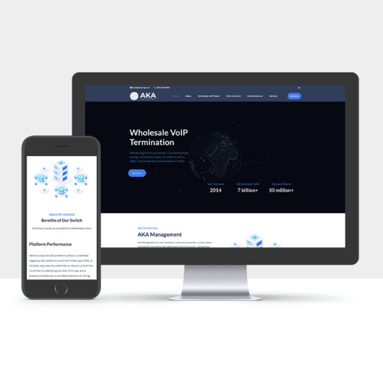 Portfolio: Responsive desktop and mobile display of AKA Management's website