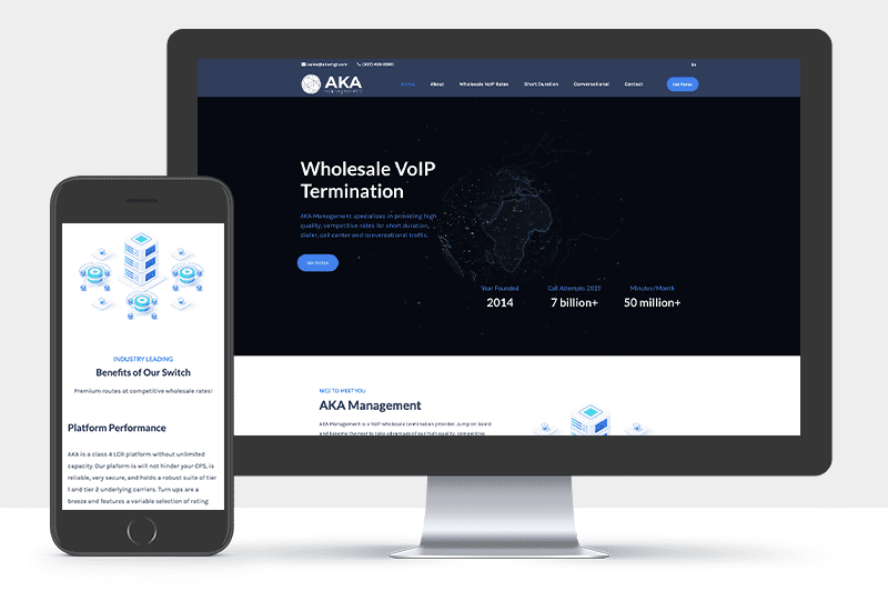 Portfolio: Responsive desktop and mobile display of AKA Management's website