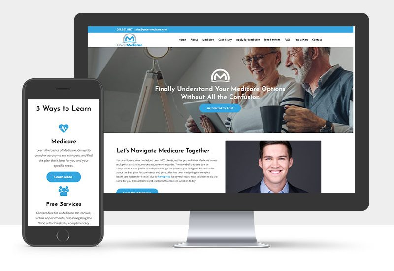 Portfolio: Responsive desktop and mobile display of CoverMedicare's Website