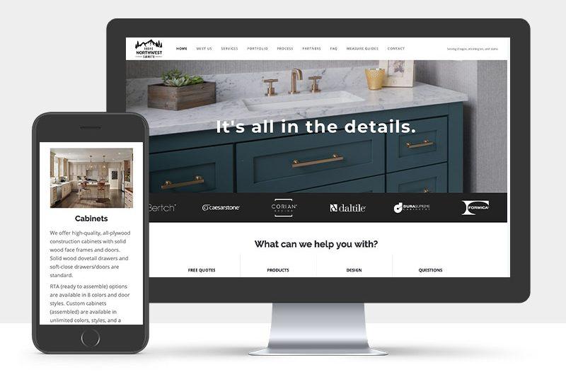 Portfolio: Responsive desktop and mobile display of PNW Cabinet's Website