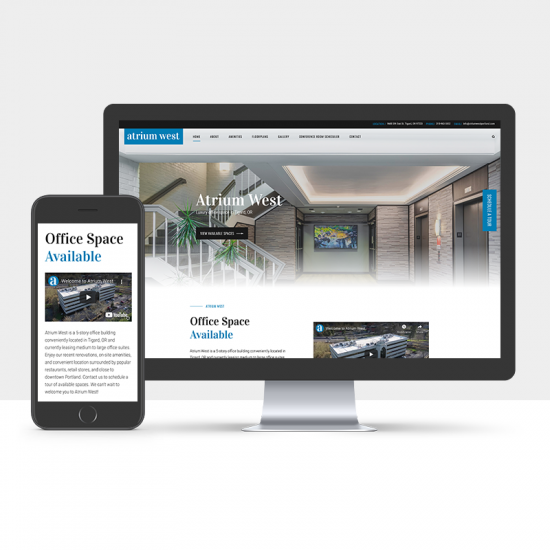 A desktop and a mobile screen displaying the Atrium West website